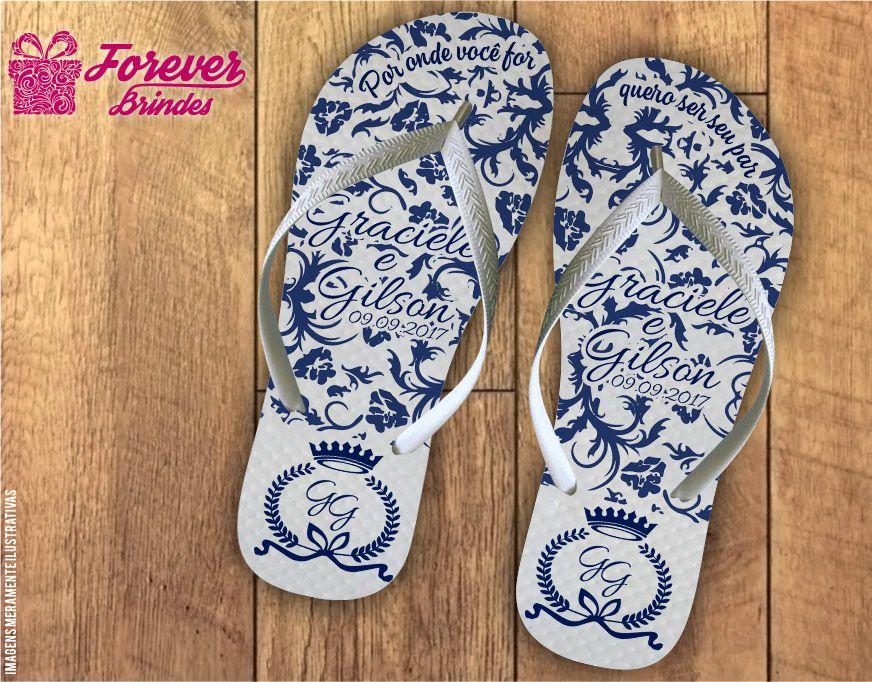 Chinelo casamento arabesco azul