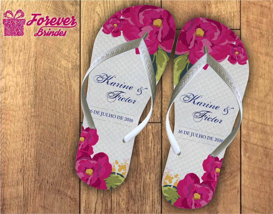 Chinelo casamento flores roxas
