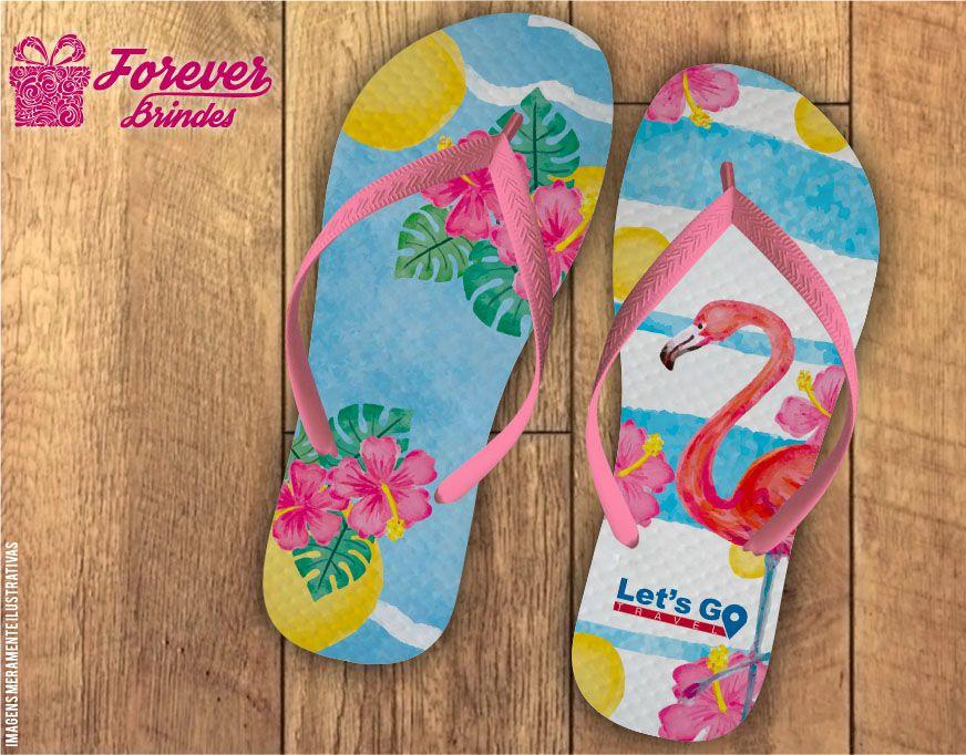 Chinelo Tema Flamingo Empresarial