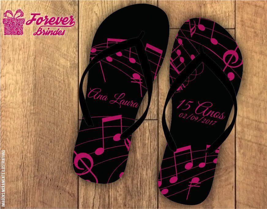chinelo debutante nota de musica preto com rosa