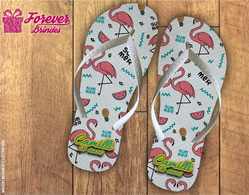 Chinelo debutante flamingos delicados
