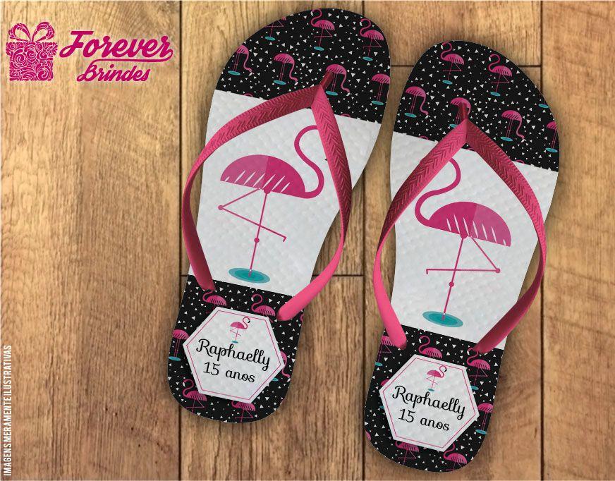 chinelo debutante mini flamingos rosa