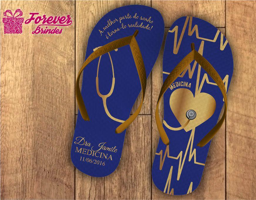 Chinelo formatura medicina coração azul com dourado