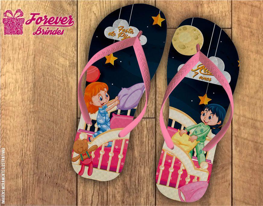 Chinelo Aniversário Infantil Festa Do Pijama