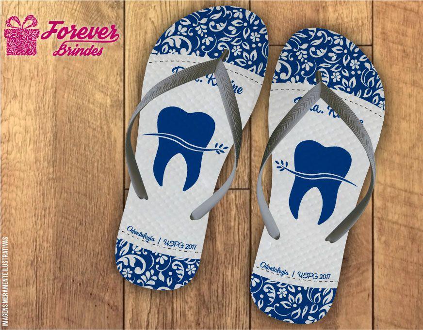 Chinelo formatura odontologia arabesco com dente