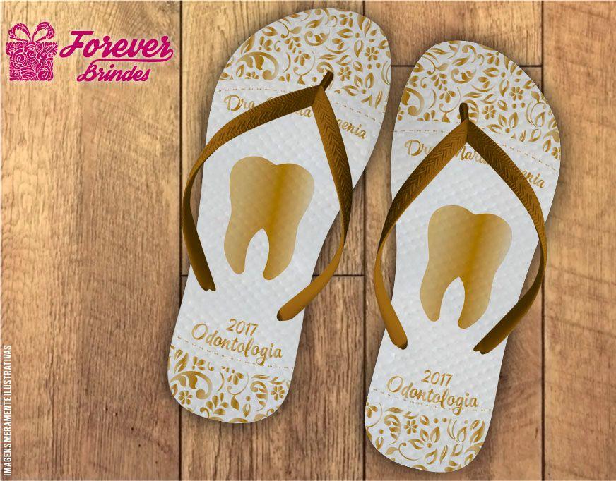 Chinelo Formatura Odontologia arabesco dourado e branco