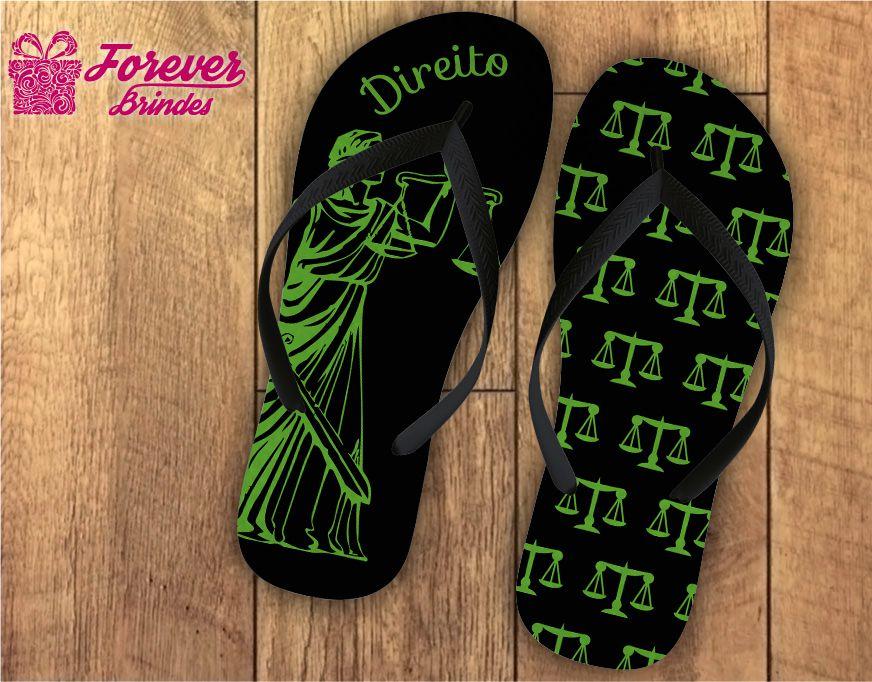 Chinelo formatura direito deusa Têmis verde com preto