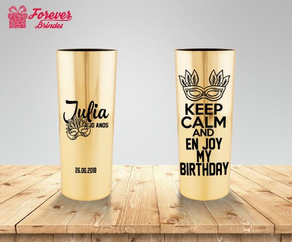 Copo Long Drink Metalizado Aniversário Keep Calm