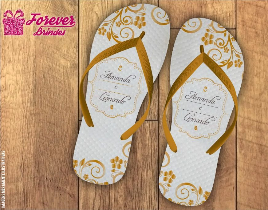 Chinelo Personalizado Casamento Florais Dourado