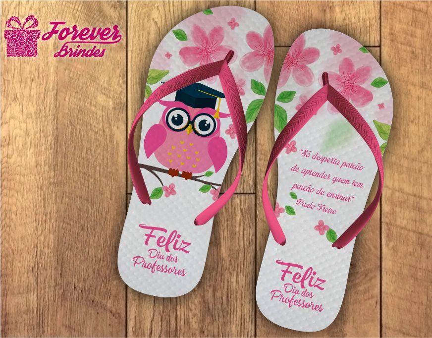 Chinelo Dia Dos Professores coruja cor de rosa