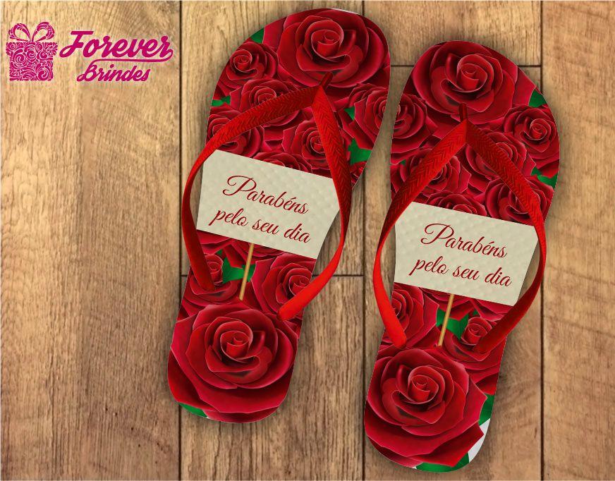 Chinelo Dia Dos Professores de rosas