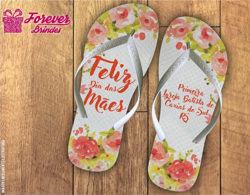 Chinelo Dia Das Mães flores e folhas
