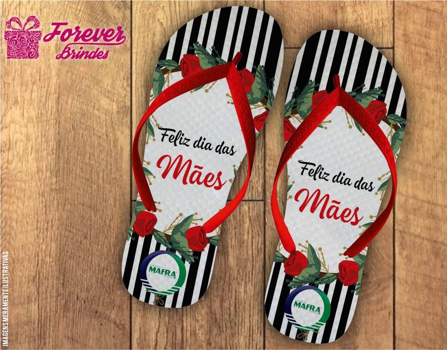 Chinelo Dia Das Mães Rosas e listras