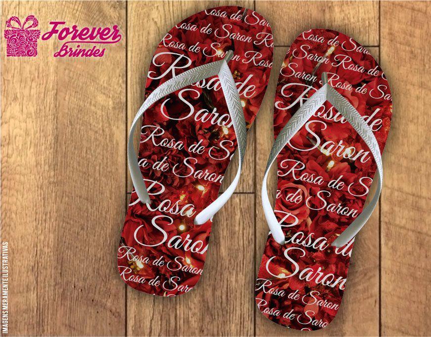 Chinelo Dia Das Mães rosas de saron