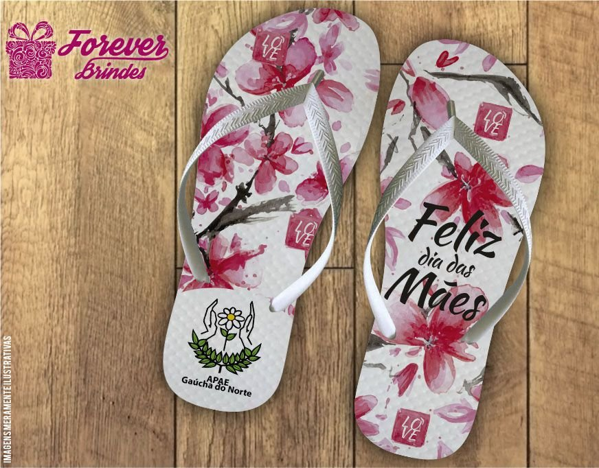 Chinelo Dia Das Mães e flores