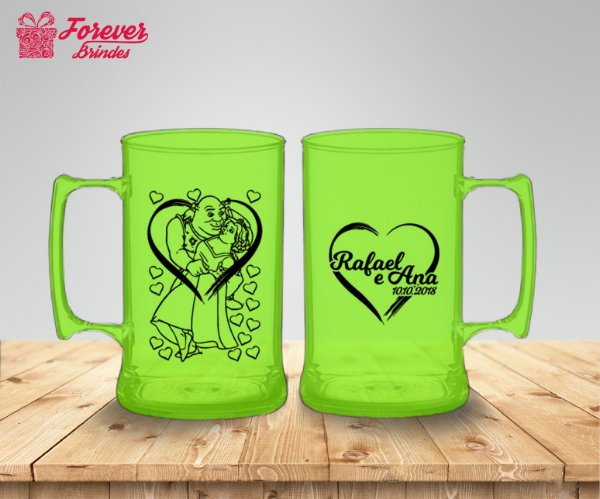 Caneca De Chopp De Casamento Shrek e Fiona