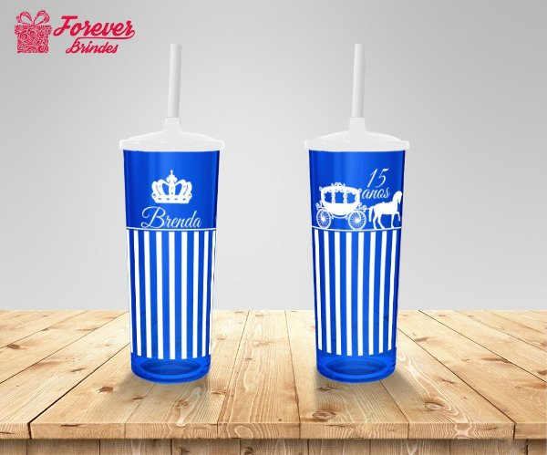 Copo Long Drink 15 Anos Azul e Branco
