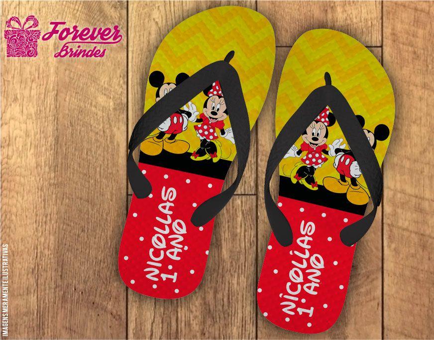 Chinelo Mickey e Minnie Aniversário Infantil
