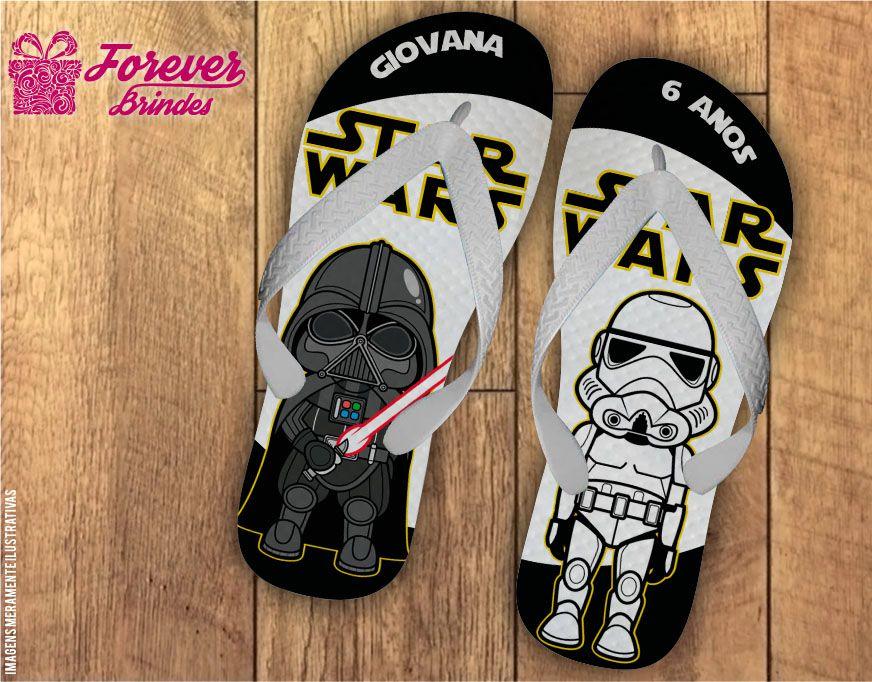 Chinelo Personalizado Aniversário Minions Star Wars