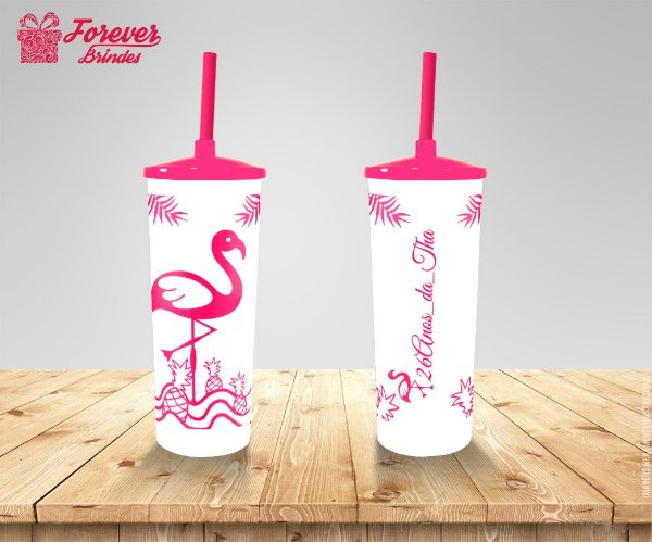 Copo Long Drink Flamingo Festa De Aniversário