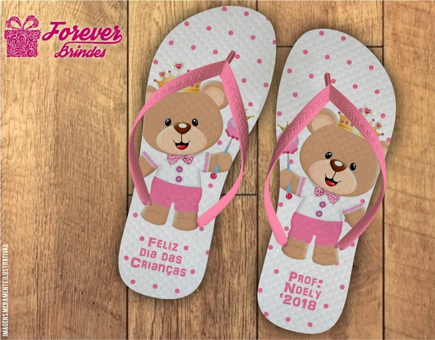 Chinelo Dia Das Crianças Ursinho Rosa