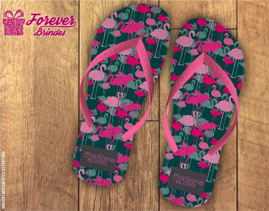 Chinelo Personalizado Flamingo Empresa