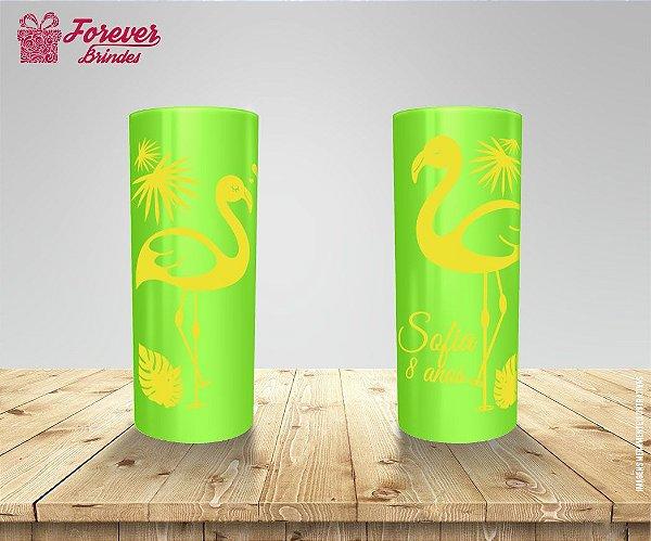 Copo Long Drink Aniversário Tropical Flamingo