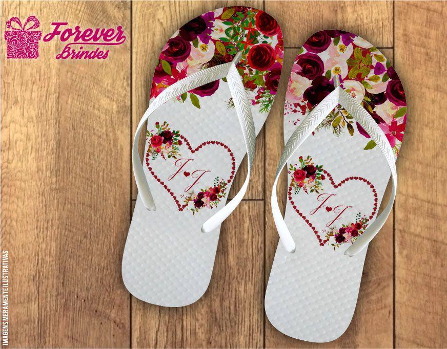 Chinelo De Casamento Iniciais Do Nome e Florais