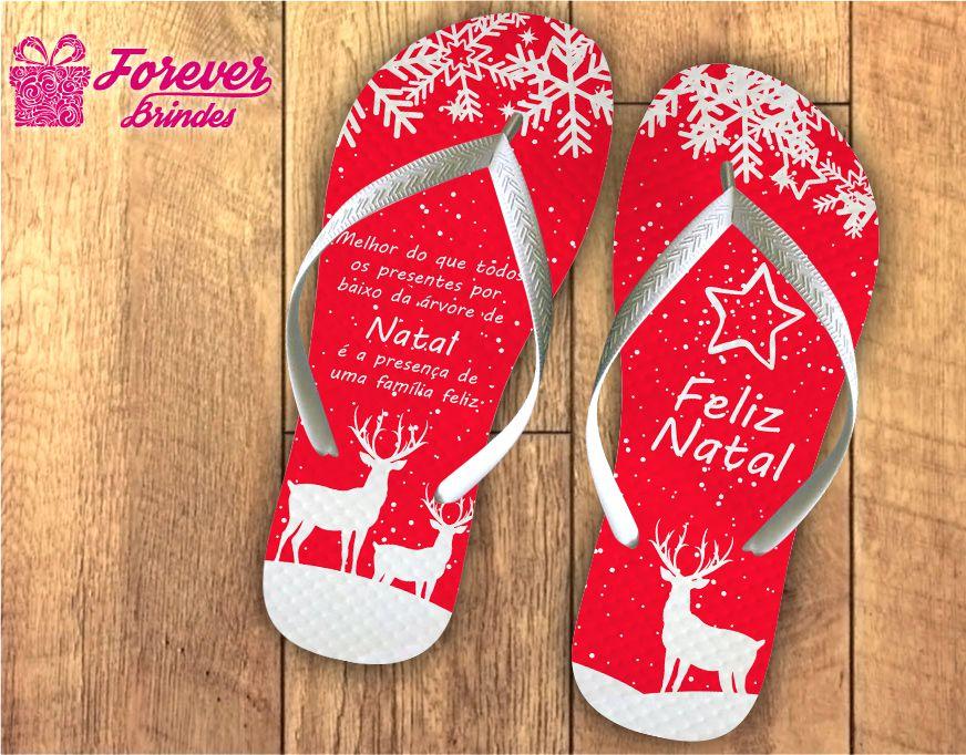 Chinelo Personalizado De Natal Renas