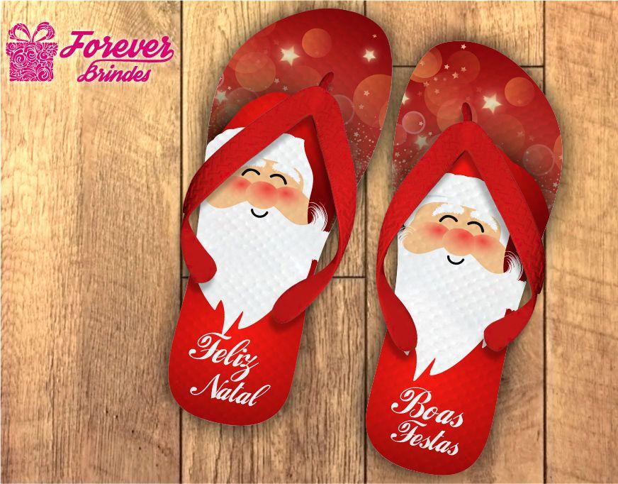 Chinelo De Natal Personalizado Papai Noel
