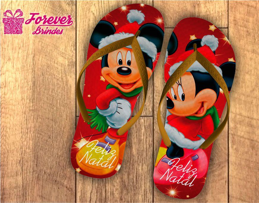 Chinelo De Natal Personalizado Mickey e Minnie