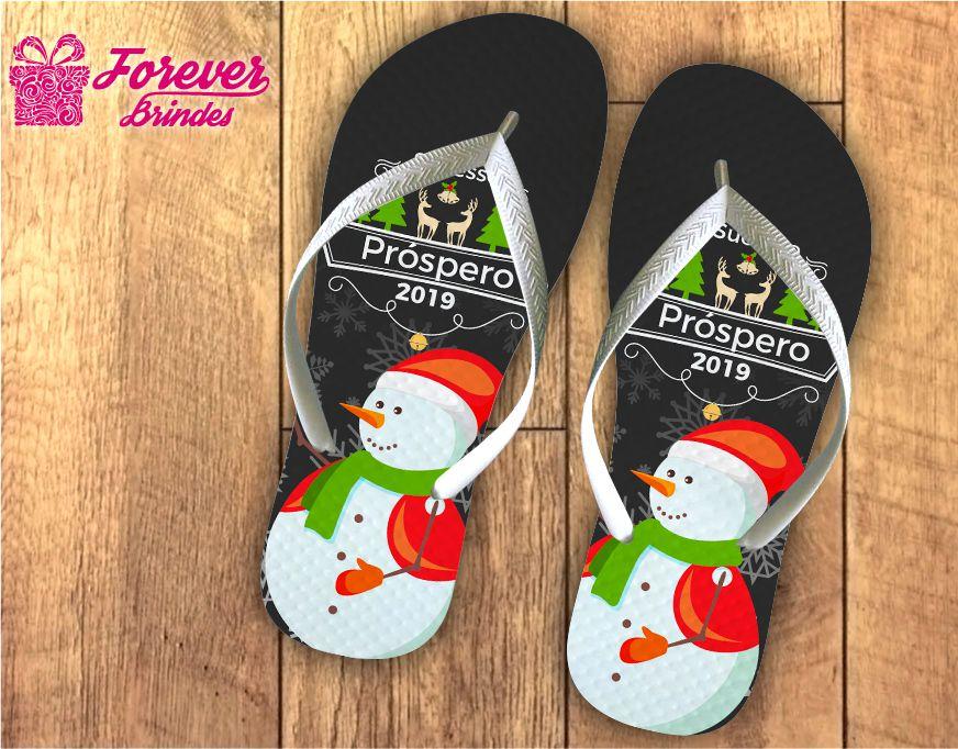 Chinelo De Natal Personalizado Boneco De Neve