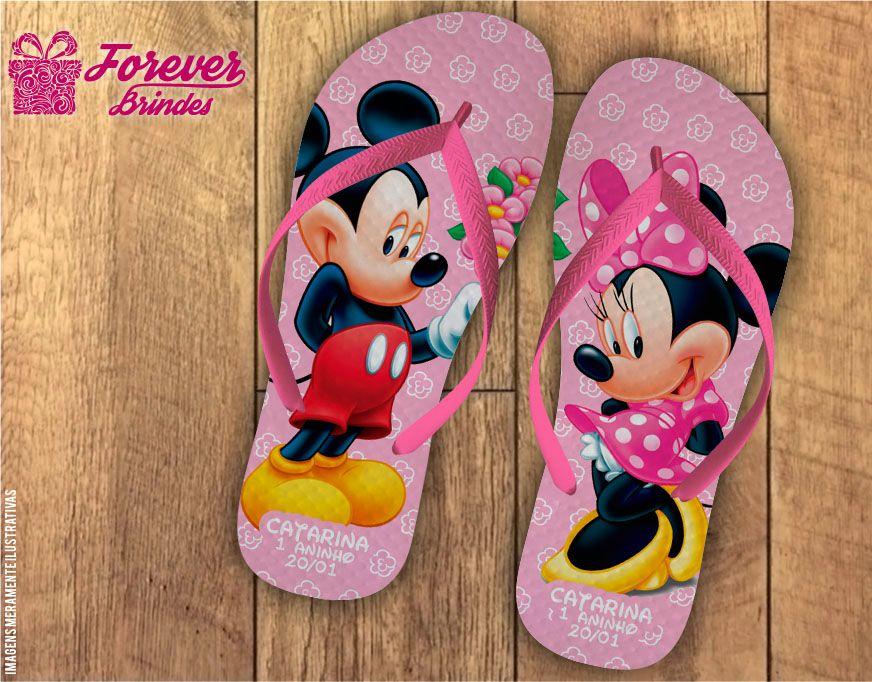 Chinelo Aniversário Infantil Mickey e Minnie