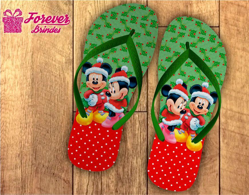 Chinelo De Natal Mickey e Minnie