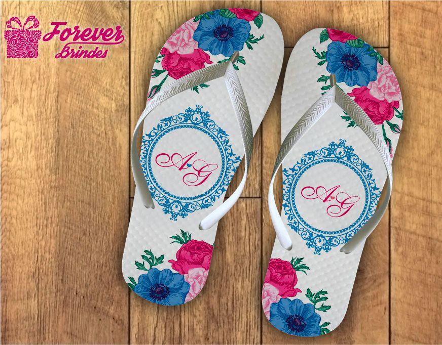 Chinelo De Casamento Personalizado Floral