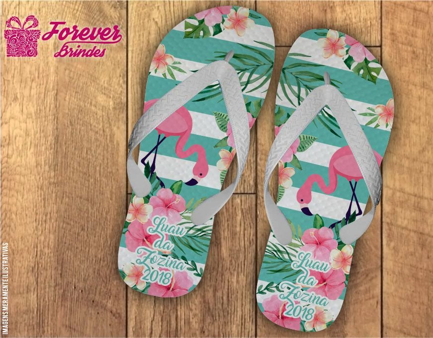 Chinelo Personalizado Festa Tropical Flamingo