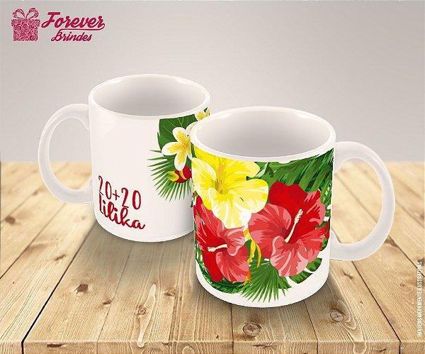 Caneca De Porcelana Aniversário Com Floral