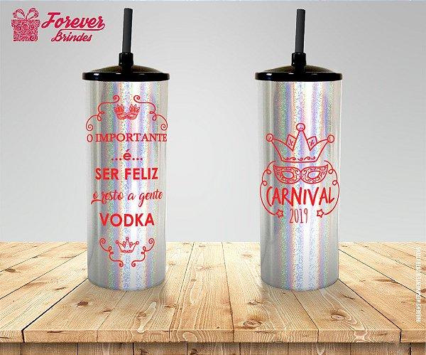 Copo Long Drink Holográfico Carnaval com Frase