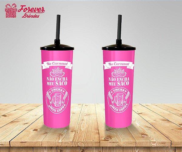 Copo Long Drink Carnaval Rosa e Branco