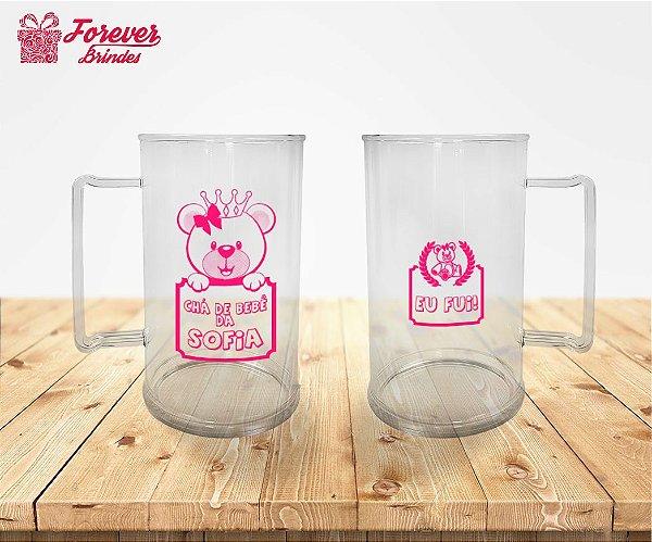 Caneca De Chopp Chá de Bebê Rosa
