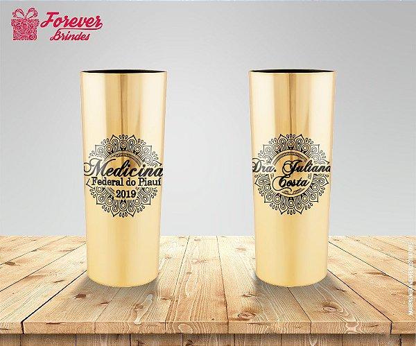 Copo Long Drink Metalizado Medicina Dourado