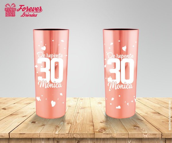 Copo Long Drink 30 Anos Metalizado