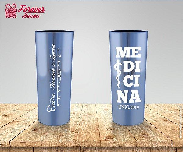 Copo Long Drink Metalizado Medicina com Logo