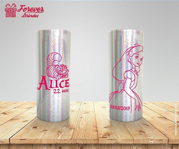 Copo Long Drink Holográfico Alice No Pais Das Maravilhas