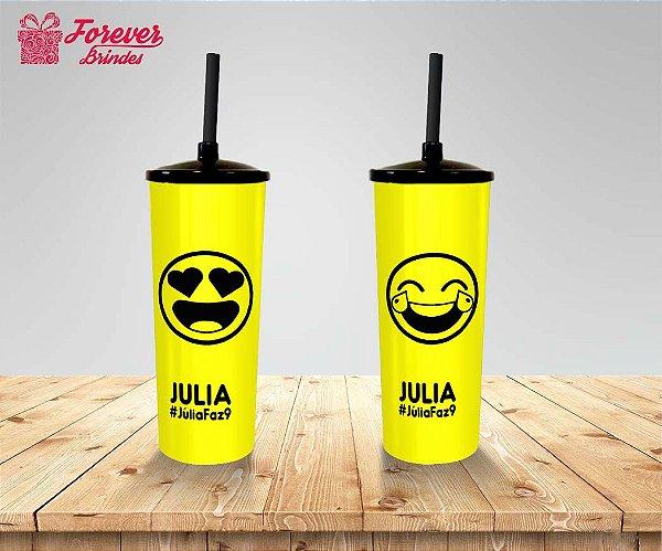 Copo Long Drink Emoji Tampa e Canudo