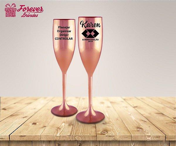 Taça De Champanhe Metalizada De Administração Rose