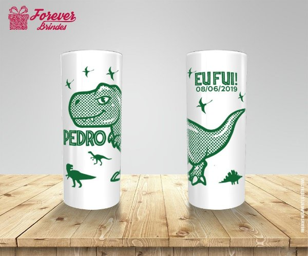 Copo Long Drink Personalizado de Aniversário Dinossauro