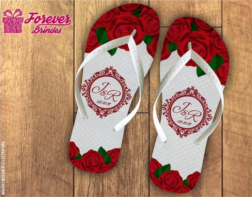 Chinelo De Casamento Com Rosas Vermelhas