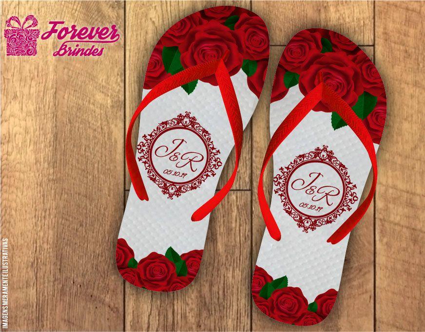 Chinelo De Casamento Com Rosas
