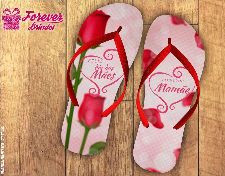 Chinelo Personalizado Dia Das Mães Rosas Vermelhas